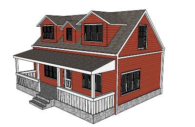 A simple house modeled in SketchUp, from Google Warehouse