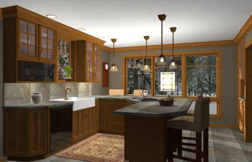 3D Visualization of Kitchen floor plan by CastleView3D.com